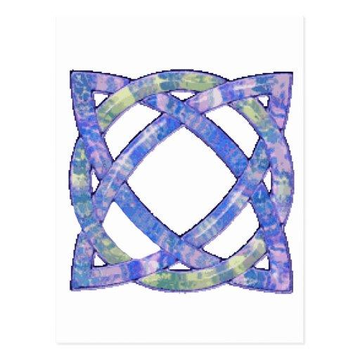 Azul céltico del nudo 8 tarjeta postal