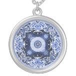 Azul chino antiguo y blanco de la mandala joyeria personalizada