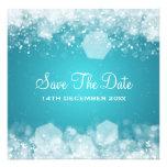 Azul chispeante de la noche del boda del invierno invitación personalizada