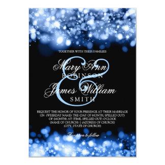 """Azul chispeante del zafiro de las luces del boda invitación 4.5"""" x 6.25"""""""