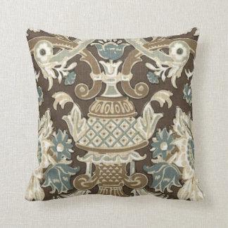 Azul, Choco Brown, almohada diseñada floral gris