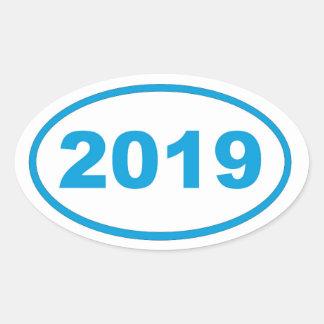 azul ciánico 2019 pegatina ovalada