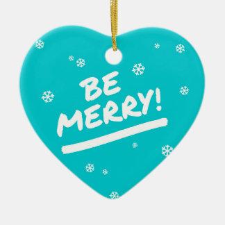 Azul/ciánico sea felices copos de nieve del día de adorno navideño de cerámica en forma de corazón