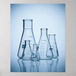 Azul científico de la cristalería póster