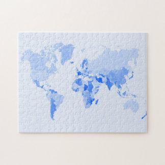 Azul claro arrugada mapa del mundo puzzle