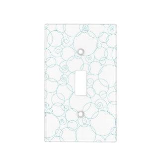 Azul claro, blanco, círculos, remolina cubiertas para interruptor