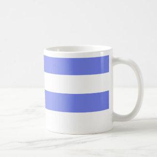 Azul claro blanco de la marina de guerra taza básica blanca