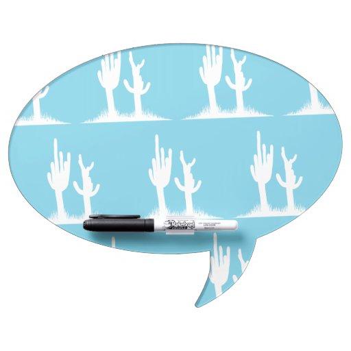Azul claro blanco del cactus tablero blanco