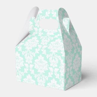 Azul claro - caja blanca del favor del damasco cajas para regalos de boda