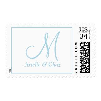 Azul claro con monograma de los bodas DIY Timbres Postales