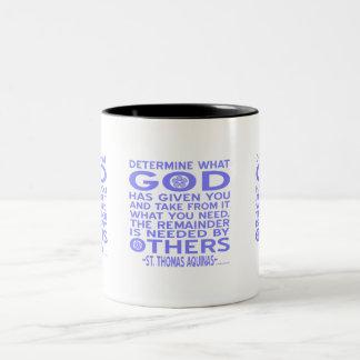 Azul claro dado dios de Tomás de Aquino Taza De Café De Dos Colores