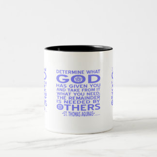 Azul claro dado dios de Tomás de Aquino Taza De Dos Tonos