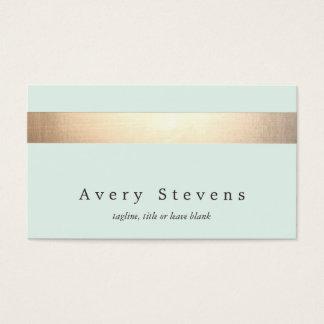 Azul claro elegante moderno rayado coloreada oro tarjeta de negocios