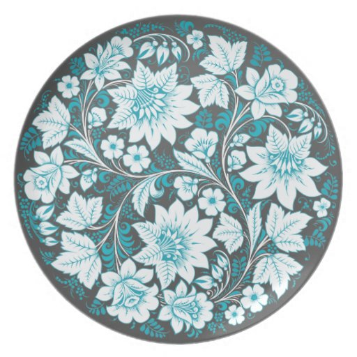 Azul claro en negro platos para fiestas