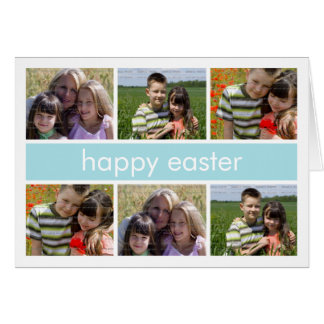 Azul claro feliz del collage de la foto de Pascua  Tarjetón