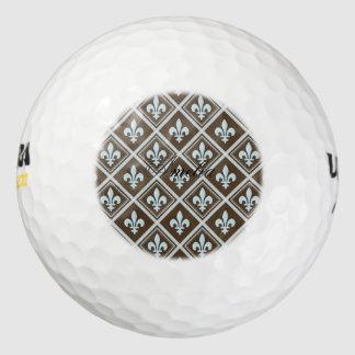 azul claro, flor de lis, real, tartán, marrón, pack de pelotas de golf