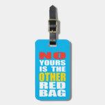 Azul claro la otra etiqueta roja del equipaje del  etiquetas bolsa