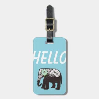 Azul claro lindo elegante del diseño del elefante etiquetas maleta