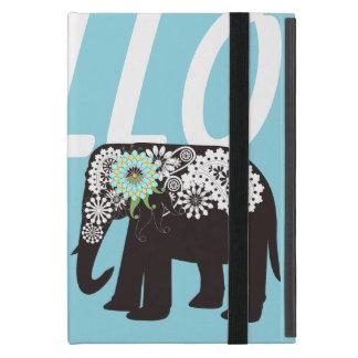 Azul claro lindo elegante del diseño del elefante iPad mini fundas