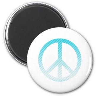 Azul claro rayado del símbolo de paz imán redondo 5 cm