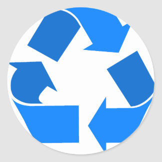 azul claro recicle etiqueta redonda