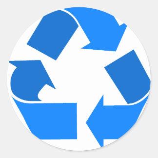 azul claro recicle pegatina redonda