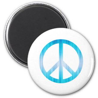 Azul claro texturizada del símbolo de paz imán redondo 5 cm