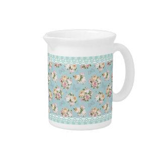 azul claro, vintage, floral, mariposa, victorian, jarra de beber