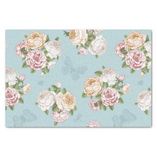 azul claro, vintage, floral, mariposa, victorian, papel de seda pequeño