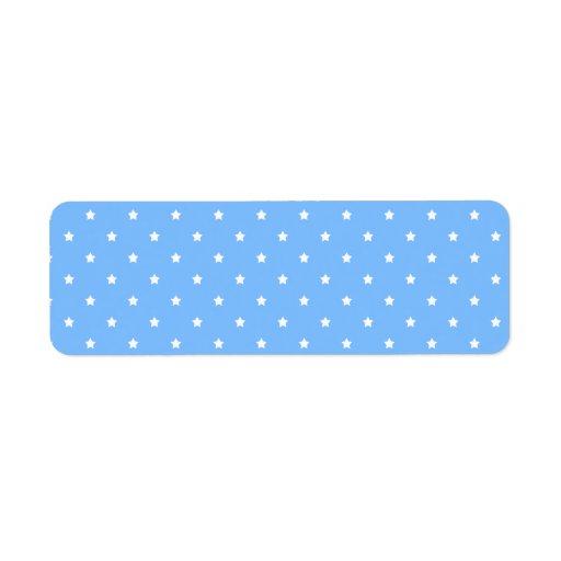 Azul claro y blanco. Modelo de estrella Etiquetas De Remite