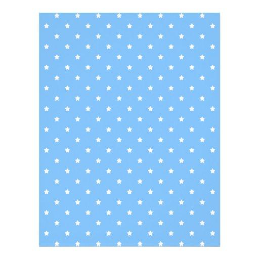 Azul claro y blanco. Modelo de estrella Plantilla De Membrete