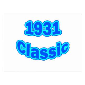 Azul clásico 1931 tarjeta postal