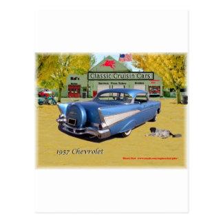 Azul clásico 1957 de Chevrolet de los coches de Postal