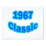 Azul clásico 1967 invitación 10,8 x 13,9 cm