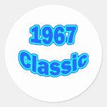 Azul clásico 1967 pegatina redonda