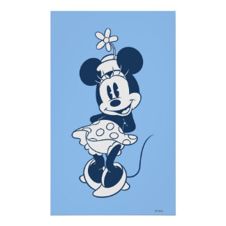 Azul clásico 2 de Minnie Mouse Póster