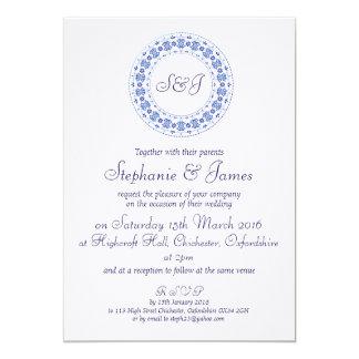 Azul clásico de China personalizado casando la Invitación 12,7 X 17,8 Cm