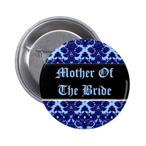 Azul clásico del damasco (boda) pins