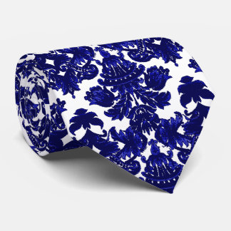 Azul clásico del damasco corbatas personalizadas