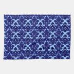 Azul clásico del damasco toalla de mano