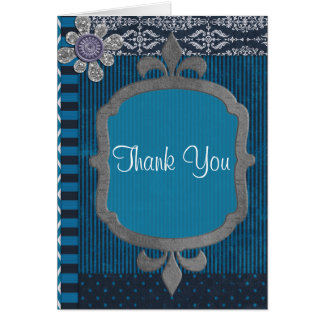 Azul clásico del vintage con cumpleaños de las len tarjeta pequeña