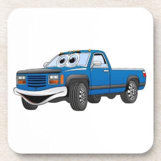 Azul coja el dibujo animado del camión posavasos de bebidas