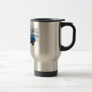 Azul coja el dibujo animado del campista taza de café