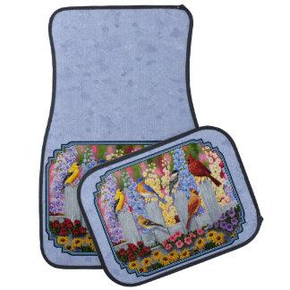 Azul colorido del jardín de flores del pájaro alfombrilla de auto