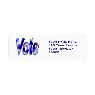 Azul colorido del voto etiqueta de remitente