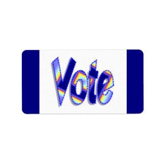 Azul colorido del voto etiquetas de dirección