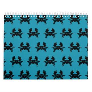 Azul con alas del negro del escudo de la corona calendario