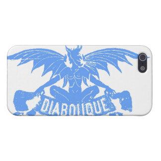 Azul con alas Satan del arte de la etiqueta del iPhone 5 Fundas