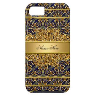 azul con clase elegante del oro del iPhone 5 iPhone 5 Case-Mate Fundas