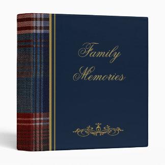 Azul con el álbum de foto de la tela escocesa/la c